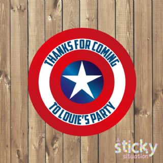Personalised Birthday Party Stickers - Captain America Theme Design